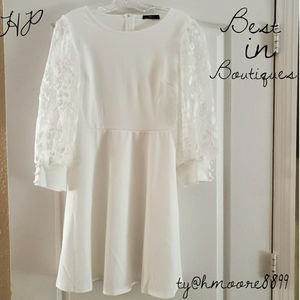 White Long Sleeve Lace Sleeve Dress  M or L NEW